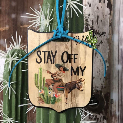 Stay off My Rear View Mirror Charm Bag Tag or Christmas Ornament