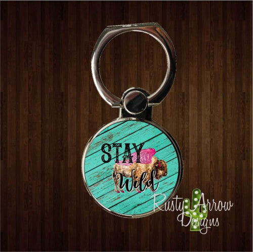 Stay Wild Buffalo Phone Ring Stand
