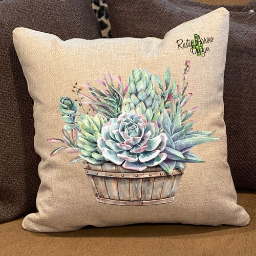 Succulent Basket Pillow Cover - Pillow