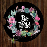 Succulent Be Wild Wreath Black Set of 2 Car Coasters - Car Coasters