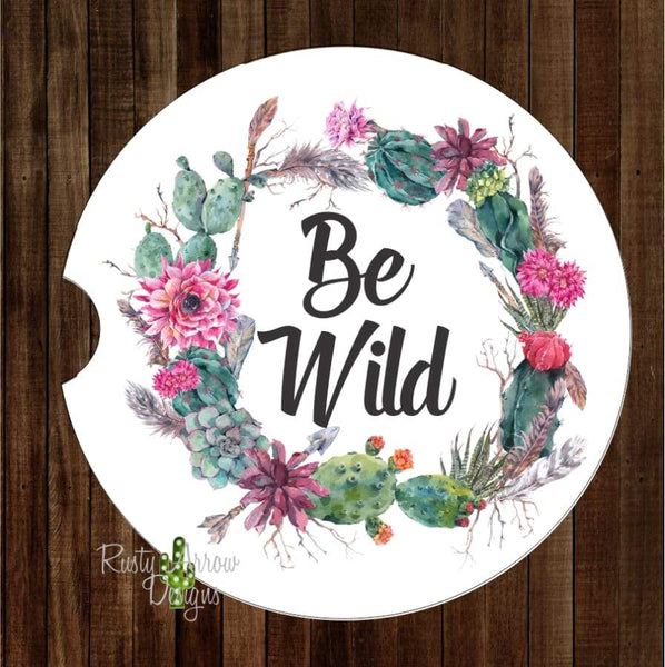 Succulent Be Wild Wreath Set of 2 Car Coasters - Car Coasters