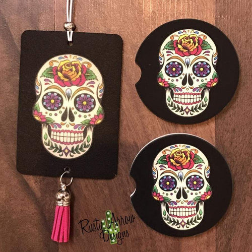 Sugar Skull Air Freshener and Coaster Set - Air Freshener