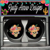 Sugar Skull with Straw Hat Set of 2 Car Coasters - Car Coasters