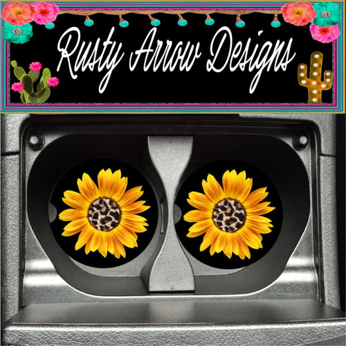 Sunflower with Cheetah Center Set of 2 Car Coasters - Car Coasters
