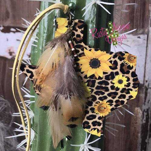 Sunflowers and Cheetah Texas Rear View Mirror Charm Bag Tag or Christmas Ornament