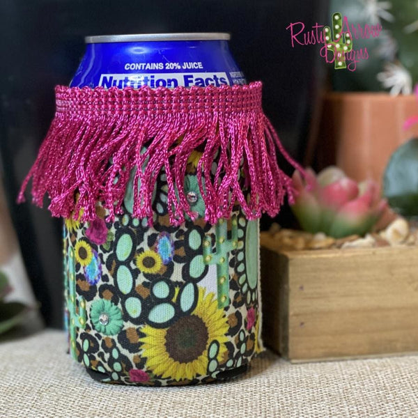 Sunflowers and Turquoise Fringe Trim 12 oz Regular Koozie - Koozie