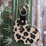 Tan Cheetah Heart Key Chain