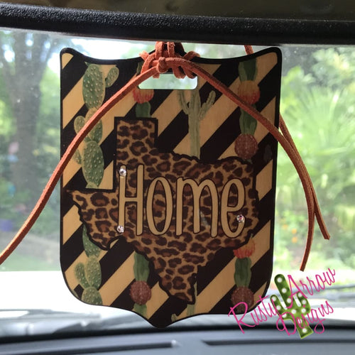 Texas Cheetah Home Rear View Mirror Charm Bag Tag or Christmas Ornament