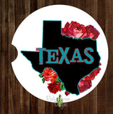 Texas Rose Set of 2 Car Coasters - Car Coasters