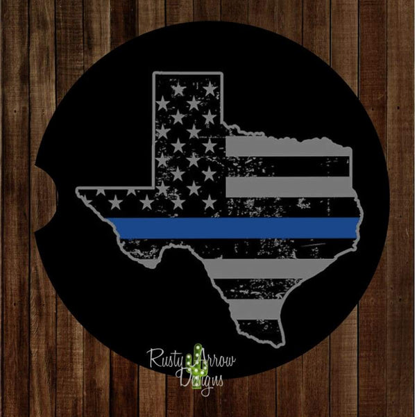 Texas Thin Blue Line Set of 2 Car Coasters - Car Coasters