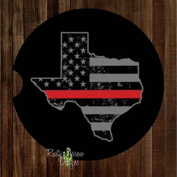 Texas Thin Red Line Set of 2 Car Coasters - Car Coasters