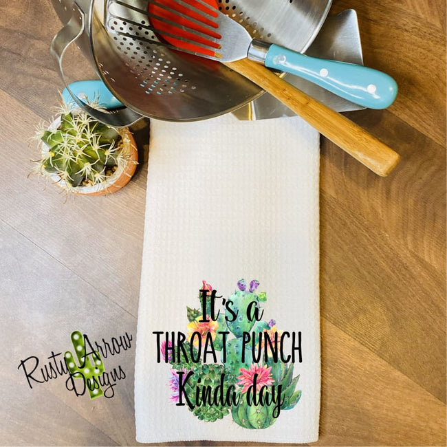Throat Punch Kind of Day Waffle Weave Tea Towel