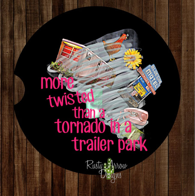 Tornado in a Trailer Park Set of 2 Car Coasters - Car Coasters