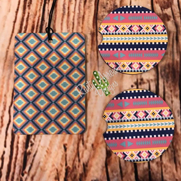 Tribal Air Freshener and Coaster Set Pink 1 - Air Freshener