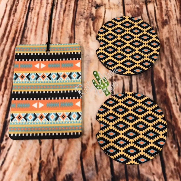 Tribal Air Freshener and Coaster Set Yellow 2 - Air Freshener