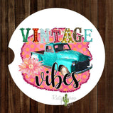 Truck Vintage Vibes Set of 2 Car Coasters - Car Coasters