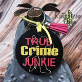 True Crime Junkie Round Wood Key Chain