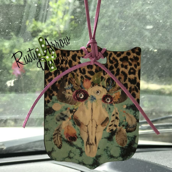 Turquoise and Cheetah Bull Skull Rear View Mirror Charm Bag Tag or Christmas Ornament