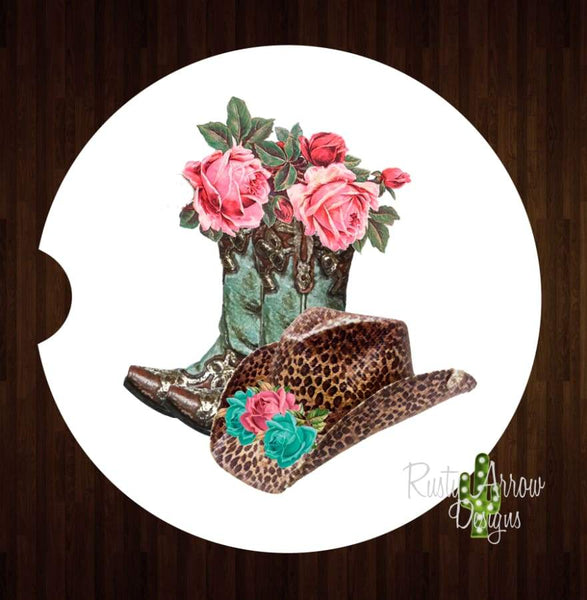 Turquoise and Cheetah Cowgirl Set of 2 Car Coasters - Car Coasters