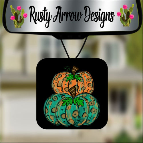 Turquoise and Cheetah Pumpkins Square Air Freshener - Air Freshener
