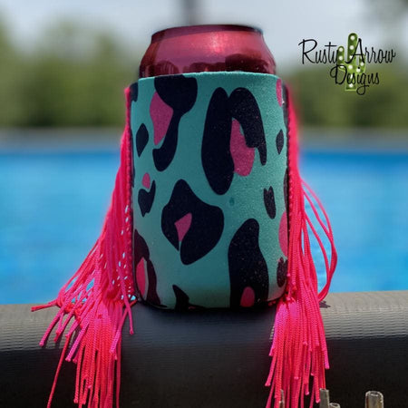 Pink Serape Fringe Bottle or Can Slim Koozie