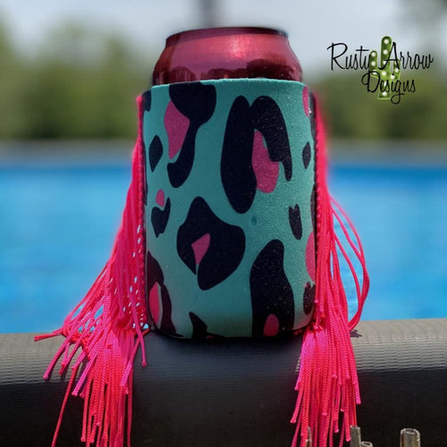 Turquoise and Hot pink Cheetah Fringe Trim 12 oz Koozie - Koozie