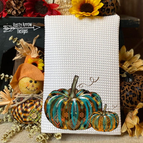 Turquoise and Orange Aztec Pumpkins Waffle Weave Tea Towel