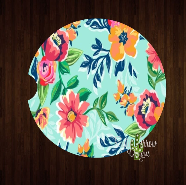 Turquoise and Orange Boho Floral Set of 2 Car Coasters - Car Coasters