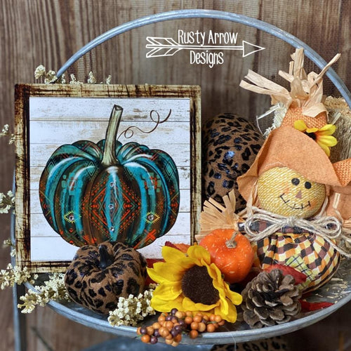Turquoise and Rust Aztec Pumpkin Tiered Tray Sign/ Picture