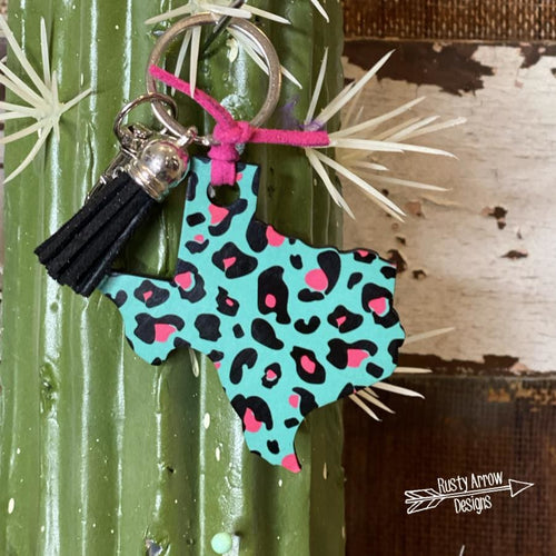 Turquoise Cheetah Texas Key Chain