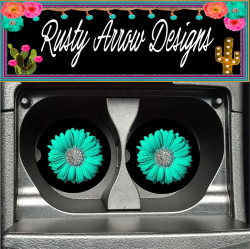 Turquoise Gerbera Daisy Set of 2 Car Coasters - Car Coasters