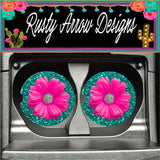 Turquoise Glitter with Pink Daisy Set of 2 Car Coasters - Car Coasters