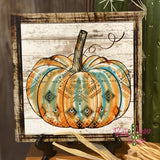 Turquoise Orange and Cream Aztec Pumpkin Tiered Tray Sign/ Picture