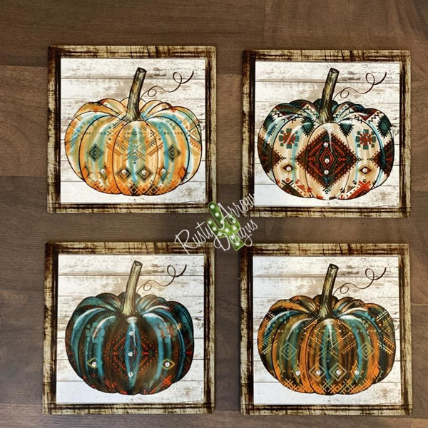 Turquoise Red and White Pumpkin Aztec Pumpkin Tiered Tray Sign/ Picture