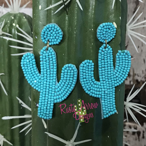 Turquoise Seed Bead Cactus Ear Rings
