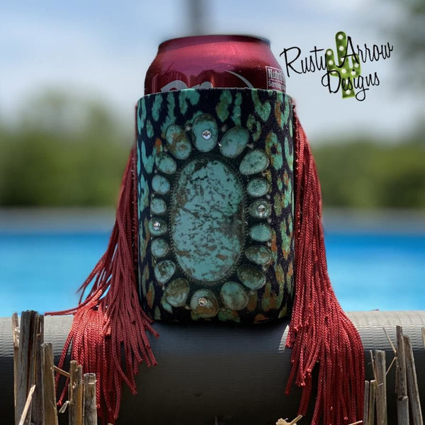 Turquoise Stone and Cheetah Fringe Trim 12 oz Koozie - Koozie