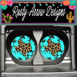Turquoise Stone with Cheetah Texas Set of 2 Car Coasters - Car Coasters