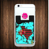 Turquoise Stone with Red and Cheetah Texas Cell Phone Card Caddy - Card Caddy