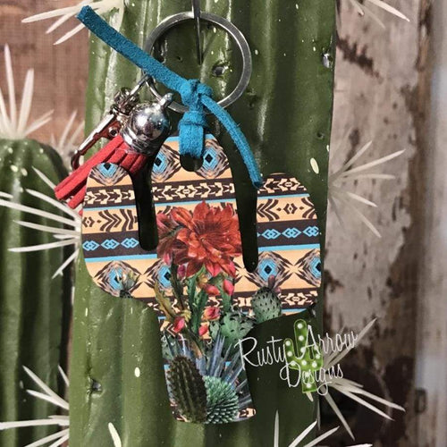 Turquoise Summer Cactus Key Chain