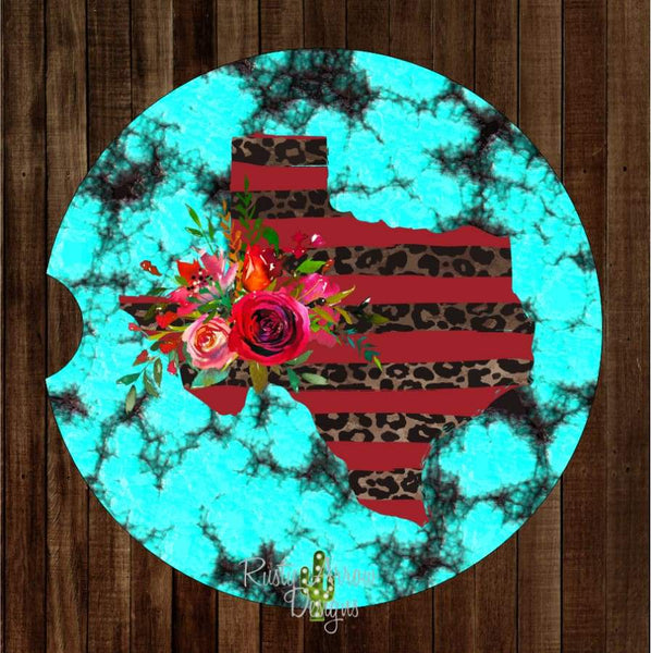 Turquoise with Red Cheetah Texas Set of 2 Car Coasters - Car Coasters