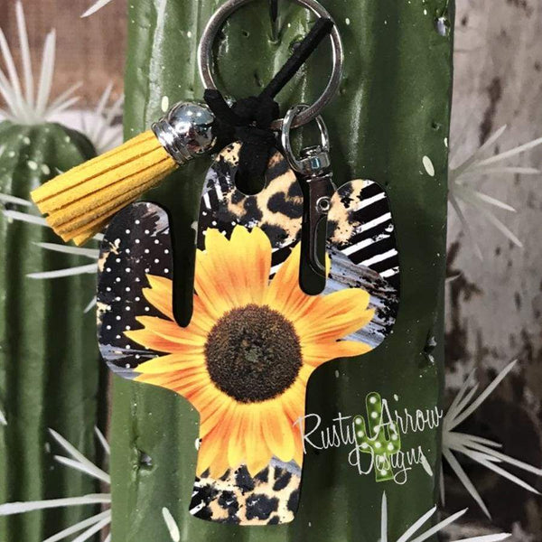Vintage Cheetah Sunflower Cactus Key Chain
