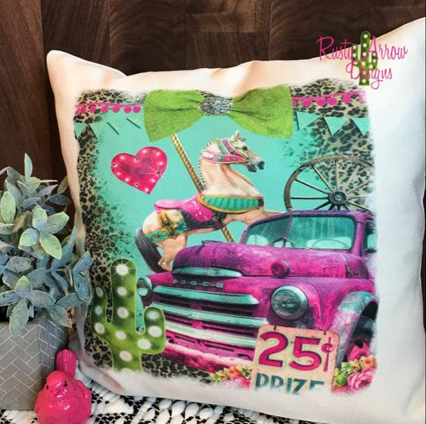 Vintage Truck and Carasoul Horse Pillow Cover - Pillow