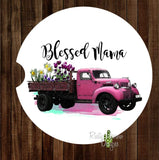 Vintage Truck Blessed Mama Set of 2 Car Coasters - Car Coasters