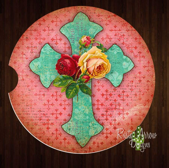 Vintage Turquoise Cross Set of 2 Car Coasters - Car Coasters