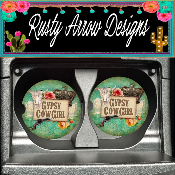 Vintage Western Gypsy Cowgirl Set of 2 Car Coasters - Car Coasters