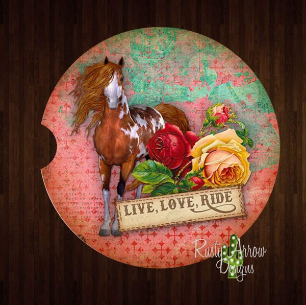 Vintage Western Live Love Ride Set of 2 Car Coasters - Car Coasters