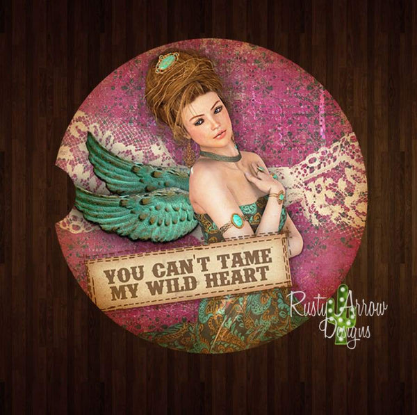 Vintage You Cant Tame My Wild Heart Set of 2 Car Coasters - Car Coasters