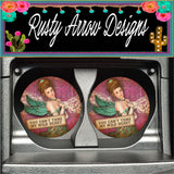 Vintage You Can't Tame My Wild Heart Set of 2 Car Coasters - Car Coasters