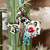 Watercolor Cheetah Cactus Texas Rear View Mirror Hanger Christmas Ornament Bag Tag