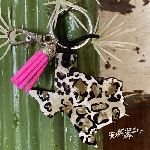Watercolor Cheetah Texas Key Chain